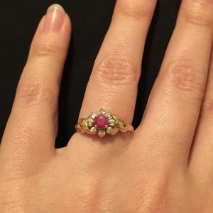 14K Gold Ring with Ruby color Gemstone